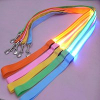 Wholesale Dogs Draw - 120cm Nylon Pet LED Dog Leash Night Safety LED Flashing Glow Pet Supplies Cat Dogs Drawing Small Leads for LED Dog Collar