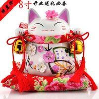 Wholesale Valentine Ceramics - A large cat cute piggy bank opened Lucky Cat ornaments ornaments Ceramic Piggy Valentine