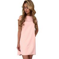 Wholesale Cut Loose Dress Xl - S-XL Short Sleeve Round Neck Basic Summer Dress 2017 New Mini Cut Out Sleeve Loose Casual Dress
