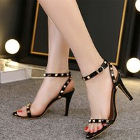 Wholesale Sexy Kitten Heel Sandals - Sexy Fashion WOMEN Simple Ankle Strap Med-heel Sandal Lady Rivet Gladiator Summer Shoe