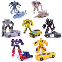 Wholesale Wooden Blocks New - Wholesale- New Arrive Transformation Plastic Robot Vehicle Kids Boys Block Action Figures Toy Gift