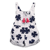 Wholesale Holiday Outfit Girls - Flora Baby Girls' Jumpsuits Rompers Clover Strawberry Ball Lace Tassels Sleeveless Shorts Princess Summer Holiday Kids Outfits Clothing