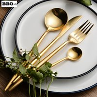 Wholesale 4pcs Dinnerware Golden Plated Stainless Steel Cutlery Set Table Fork Knife Dpoons Silverware Wedding Tableware Set talher