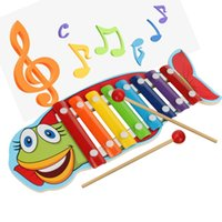 Wholesale Cartoon Lobsters - Baby's Wooden Musical Toys Trailer 8-Note Xylophone Children Hand Knocking Piano Crocodile Turtles Lobster Fish Cartoon Music Instrument