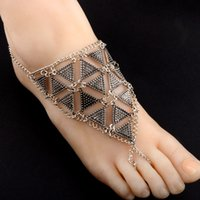 Vintage Exaggerated Geometric Triangle Chain Anklets Antique Gold Color Verão Beach Foot Bracelet Anklet Barefoot Jewelry