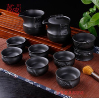 Wholesale Black Clay Teapot - Tea set, tea set, purple sand pot, Kung Fu home, all hand Chinese vintage, Yixing black clay teapot, gift box special