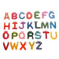 Wholesale Market Wood - Wholesale- Hot marketing 26pcs Fridge Magnets Early Learning Montessori Educational Toys Wooden Math Toys English Alphabet W089