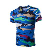 Wholesale Favorite Shirts - In 2017, men's casual personality summer Camo multicolor V Camo shirt collar and short sleeves in the fan favorite