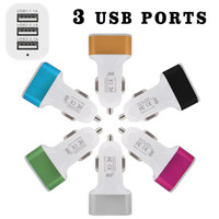 Wholesale Iphone For Sale Uk - 2017 Hot Sale 3 USB Ports Aluminum Metal Car Chargers Vehicle Charger 1.1A 2.1A 3.1A 5V For iphone Samsung Smartphones
