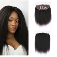 Wholesale Coarse Virgin Hair - Mongolian Kinky Straight Lace Frontal Closure With Baby Hair 100% Human Hair Coarse Yaki Virgin Lace Frontals 13X6 G-EASY