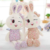 Wholesale Love Rabbit Pillow - stuffed animal lovely rabbit plush toy Yellow or Purple Floral LOVE rabbit soft doll throw pillow doll