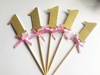 Wholesale Wholesale Glitter Ribbons - Wholesale- Gold Glitter Number One Cupcake Topper with Pink Ribbon 30pcs lot Free Shipping