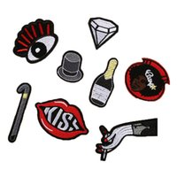 Wholesale Hand Embroidered Badges - 8 pcs Cute Cartoon Eye Diamond Hat Bottle Hand Kiss Lip Motif Embroidered Patches Iron On Patch Badge DIY Clothing Applique