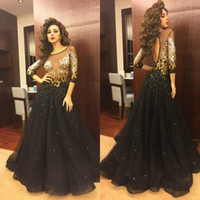Wholesale Long Sleeve Celebrity Event Dresses - Myriam Fares Celebrity Event Dresses 2017 Black Sheer Illusion 3 4Long Sleeves Gold Appliqued Backless Evening Dresses Sexy Prom Party Gowns