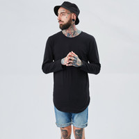 Wholesale Long T Shir - 2017 Streetwear t shir Fashion hip hop t shirts for men extended longline justin bieber Tops loose fit Solid Color tshirt TX144 RF