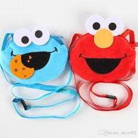 Wholesale Sesame Street Bags - 2 Color Sesame Street Plush Stuffed Animals Coin Purse Card package Hang rope cartoon For Children's bag Best Gifts 11x13cm