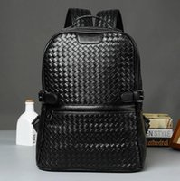 Wholesale Trunks Trend - Factory wholesale brand men bag hand woven leather backpack trend high quality leather man backpack college wind casual woven brand Backpack
