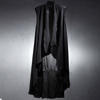 Wholesale Cloak Outerwear - Wholesale- Spring summer men cotton linen punk rock long vest sleeveless cape cloak men night club singer harajuku outerwear chaleco hombre