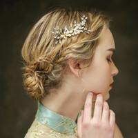 Wholesale wedding floral tiara - beijia Elegant Gold Floral Hair Accessories Wedding Combs Handmade Tiara Bridal Hair Comb Women Pearl Hair Jewelry