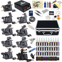 Wholesale Tattoo Machine Gun Case - Complete Tattoo Kit 9 Top Machine Gun 40 Color Ink Power Supply Needle Tube Case D23VD-13