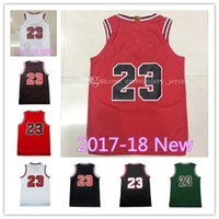 Wholesale Cheap Top Shirts - New season jerseys Top quality #23 Jerseys Classical Black Red White Basketball Jersey Men Sports wear embroidered Logos Cheap sports shirts