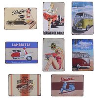 Wholesale Vintage Cars Club - Wholesale- Vintage Metal Tin Sign Car and Motorcycle Retro Plaque Poster Bar Pub Club Wall Tavern Garage Home Decor 8 Style 1pcs