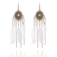 Wholesale Dangle Feather Earings - Hot Women Earrings Jewelry Fashion Women Colorful Feathers Gold Plated Chains Tassels Alloy Long Dangle Earings