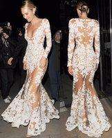 robe pleine longueur de célébrité blanche achat en gros de-Robes De Piste Automne Femmes De Haute Qualité Sirène À Manches Longues Plongée Célébrité Blanc Dentelle Dres Longue Robe À Travers Robe