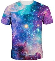 Wholesale Galaxy Men Shirt Wholesale - Summer New Men Women Lovers 3D Starry Space Galaxy t Shirt Crewneck Tops Tee Short Sleeves Printed Basic T-Shirt Camisetas