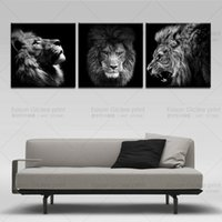 Wholesale modern abstract wall paintings - 3 Panels Lion king canvas art modern abstract painting wall pictures for living room decoration pictures canvas print no frame