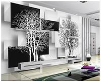 einfache schwarze weiße tapete großhandel-Freie Tapetenwand-Tapeten der Verschiffen Qualitäts-kundenspezifische 3d einfache Schwarzweiss-Baum 3 d Fernseheinstellungs-Wanddekor-Wohnzimmertapete