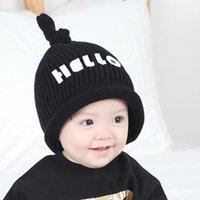 Wholesale Knit Skull Cap Girls - New Baby Bonnet Hello Velvet Warm Hat Knotted Baby Children Wool Hat Boys Girls Knitted Hat Kids Cap Touca Infantil