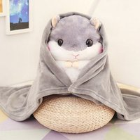 Wholesale Dog Plush Blankets - 20151147Cute little hamster doll multifunctional air conditioning blanket pillow quilt lunch guinea pig plush toys birthday gift