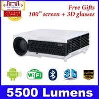 Wholesale android tv rj45 - Wholesale-Top Quality 5500Lumens Home Theater Projector Android 4.4 3D LED RJ45 1080P HD LCD TV Proyectors With Digital Smart