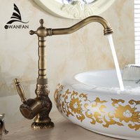 Wholesale Al Mount - New Arrival Deck Mounted Single Handle Bathroom Sink Mixer Faucet Antique bronze high quality popularHot and Cold Water AL-9988F