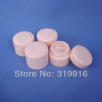 Wholesale Cosmetic Jar Pp Bottle - 5g X 50 high quality pink double wall round empty cosmetic cream jars bottles containers ,small plastic pot , sample PP tin