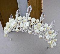"Wholesale Tiara Diamond Wedding Dress - Europe and the United States high-grade crown princess bride headdress ""wedding pearl diamond crystal crown hair dress accessories"