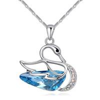 Wholesale Swarovski Blue Pendant - Elegant Blue Crystal Swan Pendant Necklace Made with Swarovski Elements for Mother's Day Gift Korea Trendy Jewelry 24752
