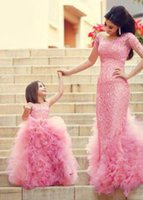Wholesale Form Flowers - New 2017 Mother And Daughter Puffy Lace Kids Form Wear With Ruffles Jewel Neck Zipper Back Flower Girls' Dress Cheap Dresses Evening Wear