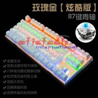 Wholesale Luminous Backlit Keyboard - by dhl or ems 20pcs Backlit Gaming Mechanical Keyboard Anti-ghosting Luminous 87 LED Wired Blue Switches Keyboard Palm