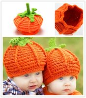 Wholesale Crochet Pumpkin Hats - Baby Pumpkin Hats Crochet Knitted Toddler Kids Photo Props Caps Infant Costume Winter Warm Hats XMAS Gifts 0-2T PX-H11