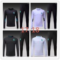 Wholesale Pant Suit Xl - TOP THAI QUALITY new 17-18 Real Madrid men's soccer chandal white football tracksuit 2017-2018 adult training suit skinny pants Sportswear