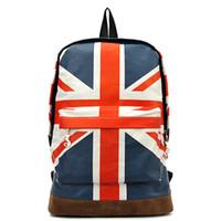 Wholesale Canvas Shoulder Bag Men Uk - 2017 New Fashion Casual Women Bag UK British Flag Union Jack Style Backpacks Shoulder School Bag Travel BackPack Canvas