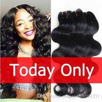 Wholesale Black Brazillian Hair - Unprocessed Human Virgin Hair Brazilian Body Wave Natural Black Hair Bundles 8 pcs a lot Cheap Brazillian Hair weave4,6,8,10pic lot