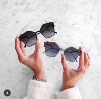 Wholesale Colored Frames Glasses - New fashion lady sunglasses irregular frame avant-garde design style top quality UV protection light-colored lens decoration glasses 0136