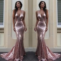 Wholesale Pink Carpet Roses - Rose Gold Sequin Mermaid Evening Dresses Sparkle V Neck Spaghetti Straps Backless Silver Prom Dresses Gold Evening Gowns Criss Cross Back