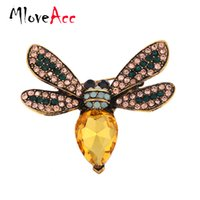 Wholesale Gold Bee Pin Brooch - Wholesale- MloveAcc 2016 Fashion Summer Jewelry Broche Cute Animal Brooch for Scarf Pins Crystal Rhinestone Insect Bee Brooches for Women
