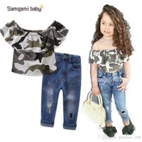 Wholesale Lotus America - Europe and America new styles Hot selling girl Summer 2 pieces set Camo lotus leaf edge Strapless tops+ hole jeans clothing girls Cotton set