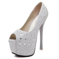 kristall verzierte hochzeit schuhe großhandel-Crystal verzierte Braut Hochzeit Schuhe Peep Toe Stiletto Dress Schuhe Größe 34 bis 39