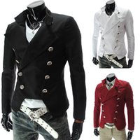 Vente en gros - Dernier Steampunk Retro Slim Fit Manteau mâle britannique à double boutonnage Blazer fashion slim 9306 BLACK / ROUGE / ROUGE VÊTEMENT CASUAL